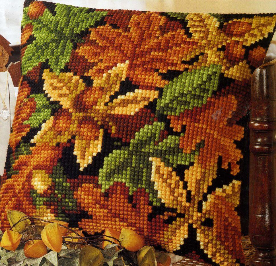 Осенние листья вышивка подушка 51